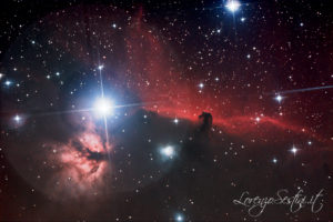 Barnard 33 Nebulosa oscura testa di Cavallo e Nebulosa Fiamma assieme alla Stella Alnitak Canon 1100d Newton 150-750 Heq5 pro