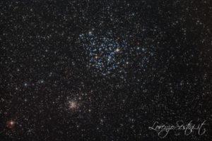 M35 e NGC 2158 Ammassi dei Gemelli con Canon 1100d filtro L-pro somma di pose. Heq5 Pro
