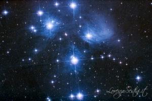 M45 Pleiadi con Canon 1100d full spectrum con filtro l.pro clip eos Mont: heq5 pro skyscan e Newton 150-750. Guida qhy5l2 mono